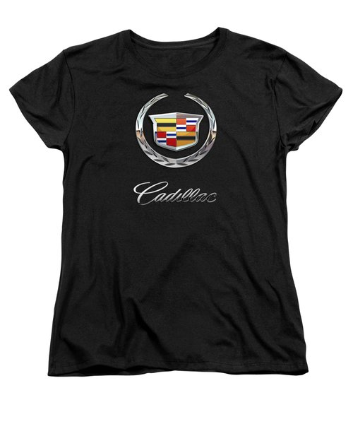 Cadillac - 3 D Badge On Black Women's T-Shirt (Standard Cut) by Serge Averbukh