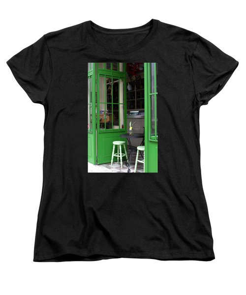 Cafe In Green Women's T-Shirt (Standard Cut) by Lorraine Devon Wilke