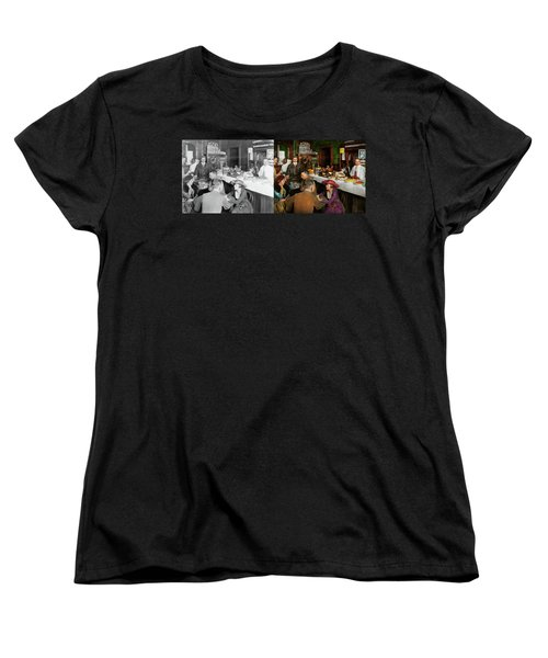 Women's T-Shirt (Standard Cut) featuring the photograph Cafe - Temptations 1915 - Side By Side by Mike Savad
