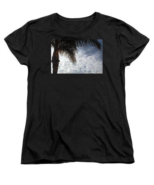 California Palm Tree Half View Women's T-Shirt (Standard Cut) by Matt Harang