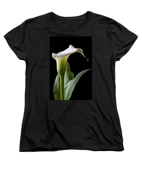 Calla Lily With Drip Women's T-Shirt (Standard Cut) by Garry Gay