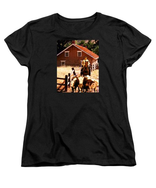 Women's T-Shirt (Standard Cut) featuring the photograph Calves by Timothy Bulone