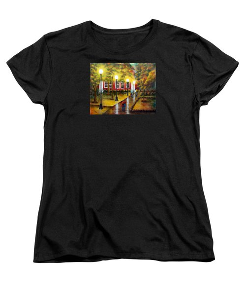Women's T-Shirt (Standard Cut) featuring the painting Campus Rain by Chris Fraser