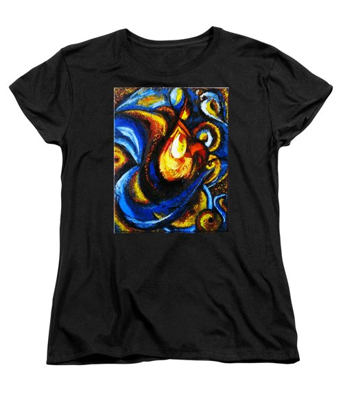 Women's T-Shirt (Standard Cut) featuring the painting Candle In Your Heart by Harsh Malik