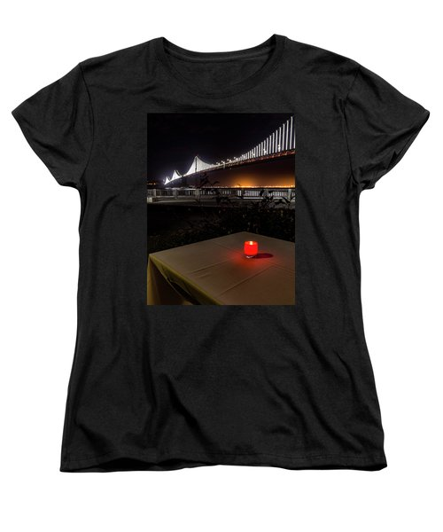 Women's T-Shirt (Standard Cut) featuring the photograph Candle Lit Table Under The Bridge by Darcy Michaelchuk