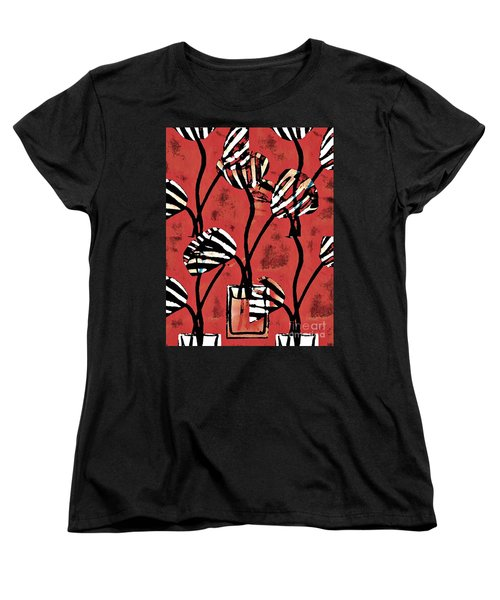 Candy Stripe Tulips 2 Women's T-Shirt (Standard Cut) by Sarah Loft