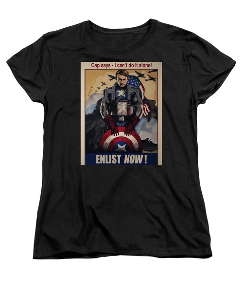 Captain America Recruiting Poster Women's T-Shirt (Standard Cut) by Dale Loos Jr