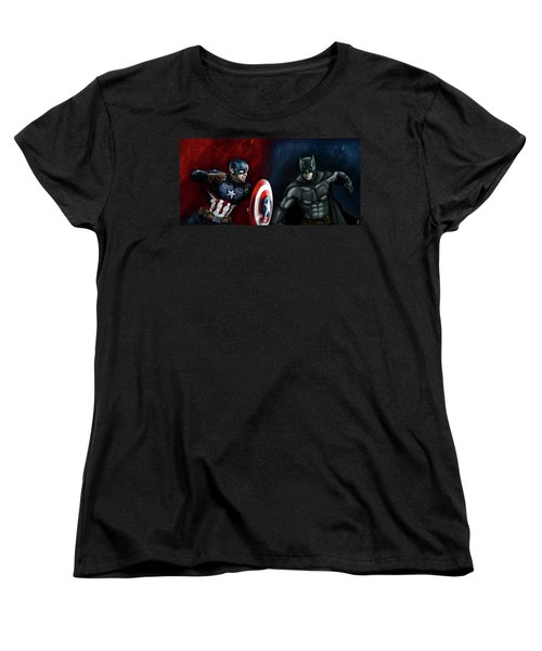 Captain America Vs Batman Women's T-Shirt (Standard Cut) by Vinny John Usuriello