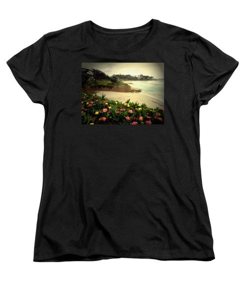 Carmel Beach And Iceplant Women's T-Shirt (Standard Cut) by Joyce Dickens