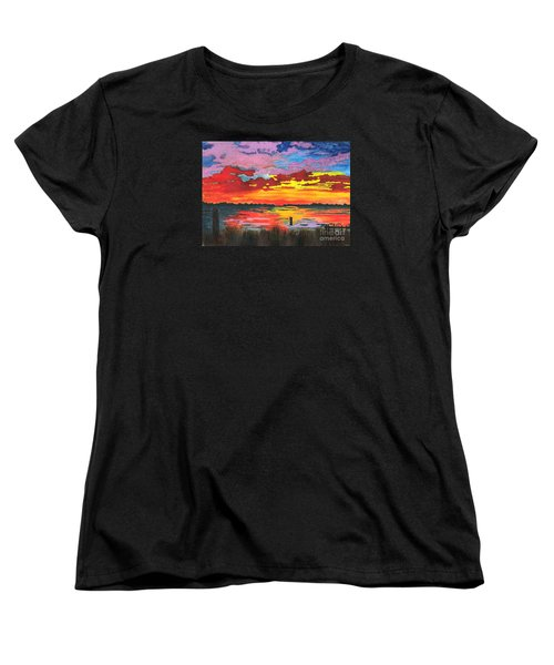 Women's T-Shirt (Standard Cut) featuring the painting Carolina Sunset by Patricia Griffin Brett