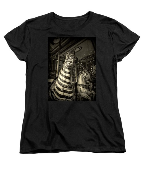 Women's T-Shirt (Standard Cut) featuring the photograph Carousel Zebra by Caitlyn Grasso