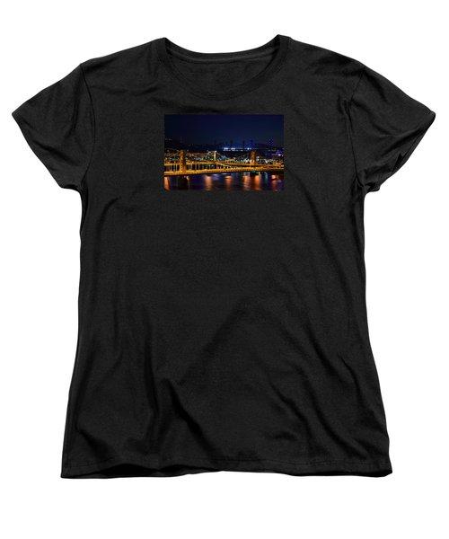 Carson Bridge At Night Women's T-Shirt (Standard Cut) by William Bartholomew