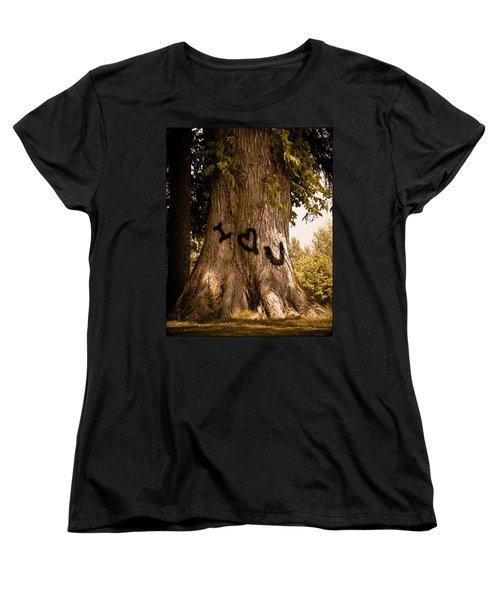 Carve I Love You In That Big White Oak Women's T-Shirt (Standard Cut) by Trish Tritz