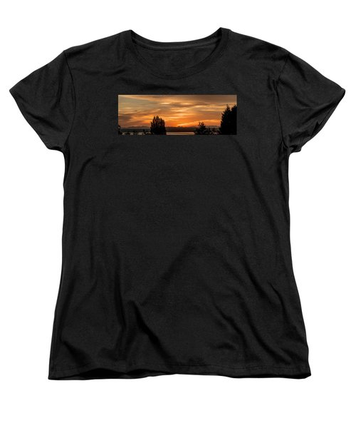 Cascade Mountains - Sunrise Panorama Women's T-Shirt (Standard Cut) by E Faithe Lester