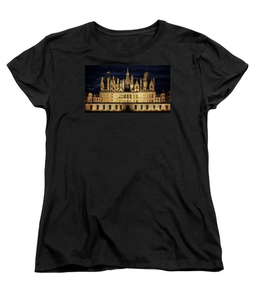 Women's T-Shirt (Standard Cut) featuring the photograph Castle Chambord Illuminated by Heiko Koehrer-Wagner