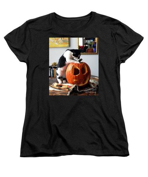 Cat And Pumpkin Women's T-Shirt (Standard Cut) by Vicky Tarcau