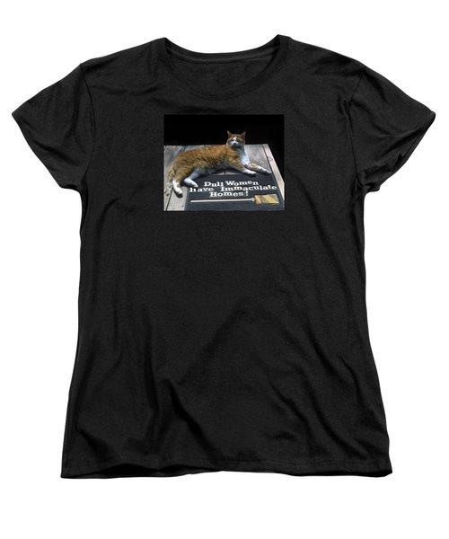 Cat On Dull Women Mat Women's T-Shirt (Standard Cut) by Sally Weigand