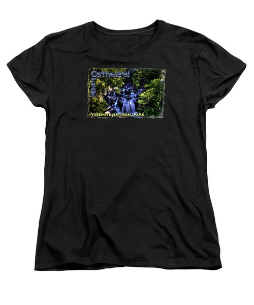 Cathedral Creek Cascade On The Tioga Pass Women's T-Shirt (Standard Cut) by Roger Passman