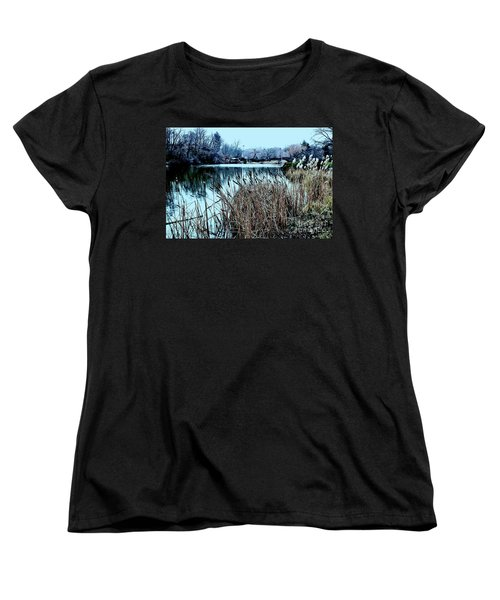 Women's T-Shirt (Standard Cut) featuring the photograph Cattails On The Water by Sandy Moulder