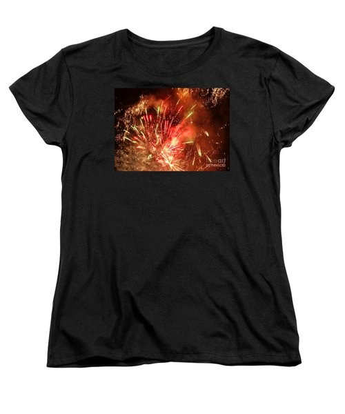Celebratory Fireworks And Firecrackers Light Up The Sky Women's T-Shirt (Standard Cut) by Yali Shi