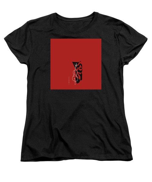 Cello In Orange Red Women's T-Shirt (Standard Cut) by David Bridburg
