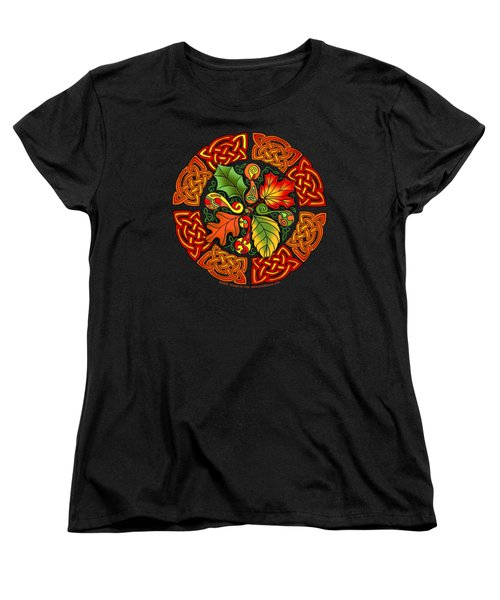 Celtic Autumn Leaves Women's T-Shirt (Standard Cut) by Kristen Fox