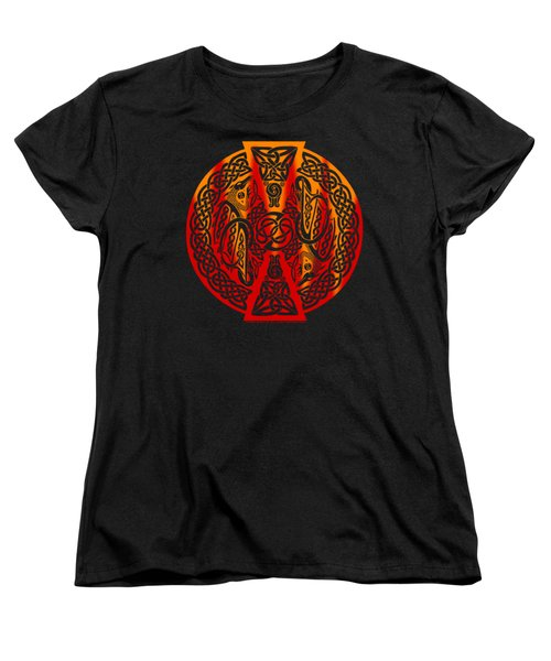 Women's T-Shirt (Standard Cut) featuring the mixed media Celtic Dragons Fire by Kristen Fox