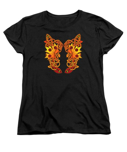 Women's T-Shirt (Standard Cut) featuring the mixed media Celtic Loose Leaves by Kristen Fox
