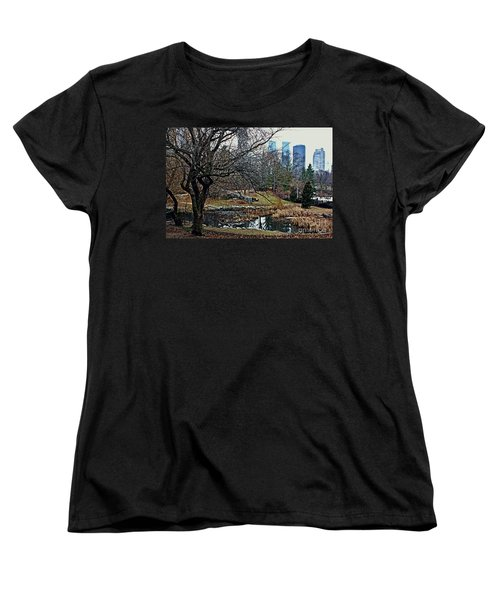 Women's T-Shirt (Standard Cut) featuring the photograph Central Park In January by Sandy Moulder