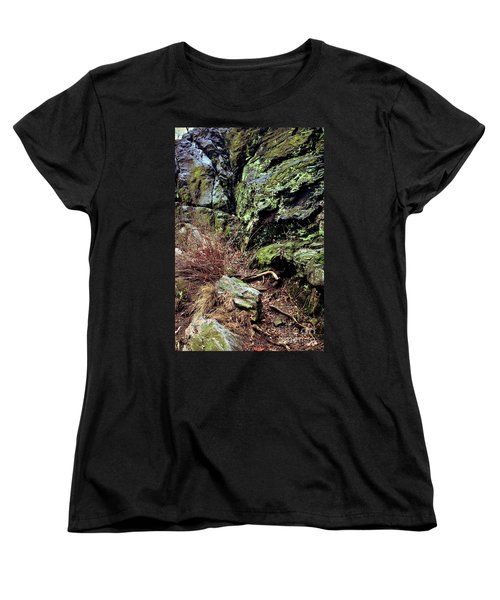 Women's T-Shirt (Standard Cut) featuring the photograph Central Park Rock Formation by Sandy Moulder