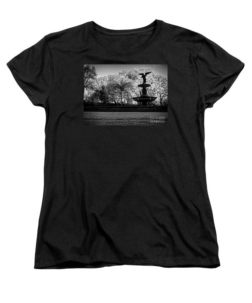 Central Park's Bethesda Fountain - Bw Women's T-Shirt (Standard Cut) by James Aiken