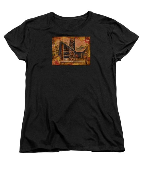 Women's T-Shirt (Standard Cut) featuring the digital art Chalet In Autumn by Kathy Kelly