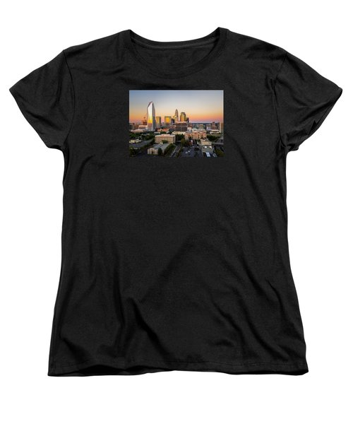 Charlotte Skyline At Sunset Women's T-Shirt (Standard Cut) by Serge Skiba