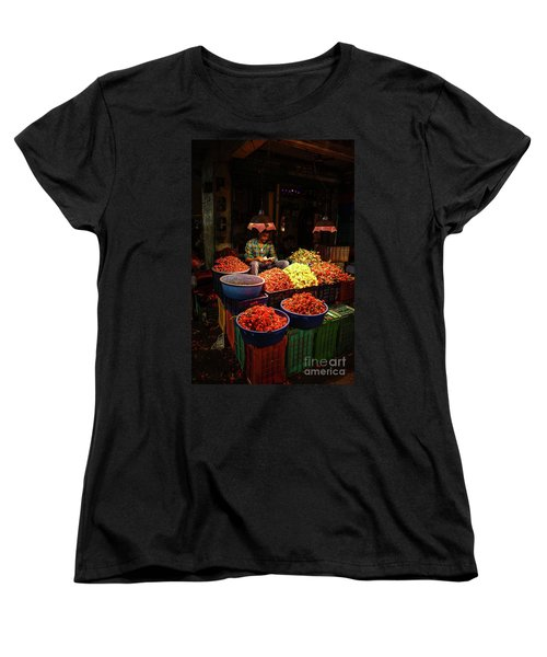 Women's T-Shirt (Standard Cut) featuring the photograph Cheannai Flower Market Colors by Mike Reid