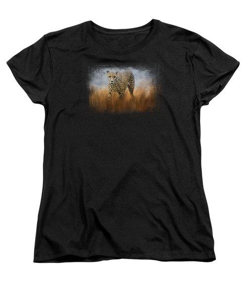 Cheetah In The Field Women's T-Shirt (Standard Cut) by Jai Johnson