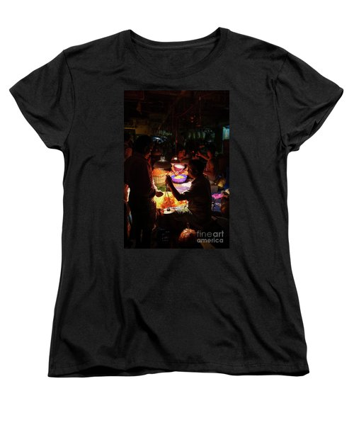Women's T-Shirt (Standard Cut) featuring the photograph Chennai Flower Market Transaction by Mike Reid