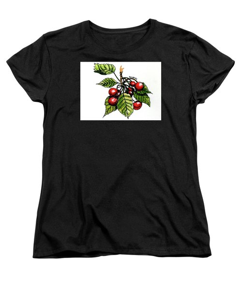 Women's T-Shirt (Standard Cut) featuring the painting Cherries by Terry Banderas