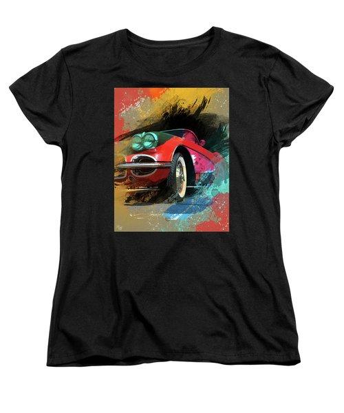 Chevy Corvette Digital Art Women's T-Shirt (Standard Cut) by Ron Grafe