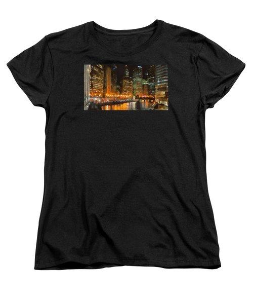 Chicago At Night Women's T-Shirt (Standard Cut) by Jeff Kolker