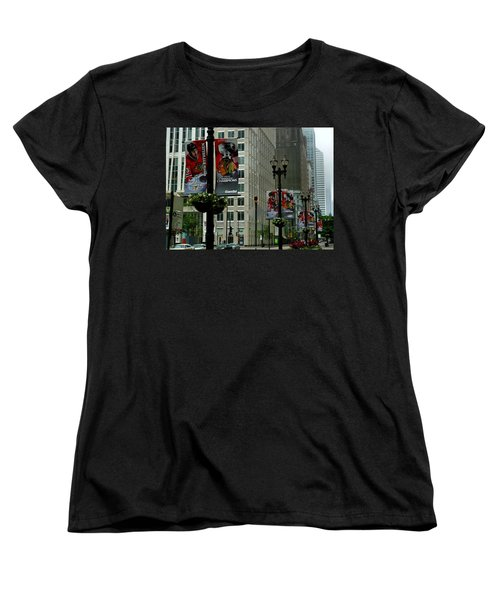 Chicago Blackhawk Flags Women's T-Shirt (Standard Cut) by Ely Arsha