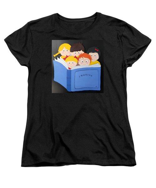 Children Reading Book Women's T-Shirt (Standard Cut) by Brenda Bonfield
