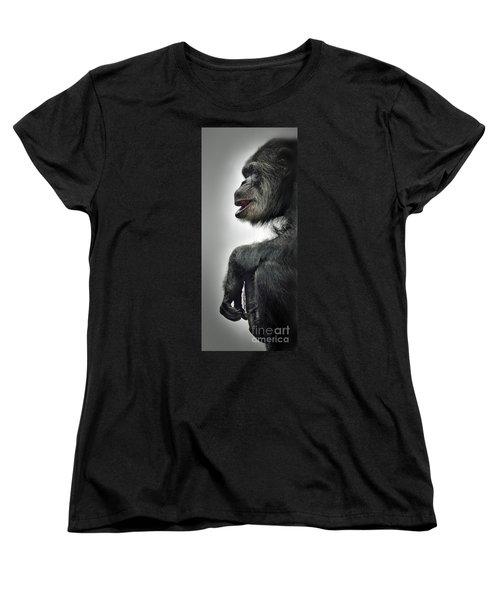 Chimpanzee Profile Vignetee Effect Women's T-Shirt (Standard Cut) by Jim Fitzpatrick