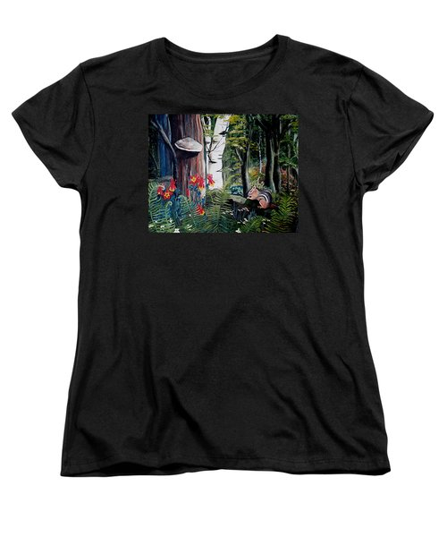 Women's T-Shirt (Standard Cut) featuring the painting Chipmunk On A Log by Renate Nadi Wesley
