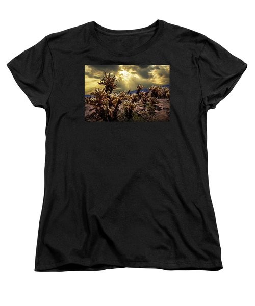 Women's T-Shirt (Standard Cut) featuring the photograph Cholla Cactus Garden Bathed In Sunlight In Joshua Tree National Park by Randall Nyhof