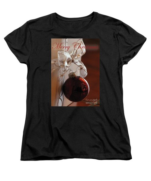 Christmas Ball And Bow Women's T-Shirt (Standard Cut) by Alycia Christine
