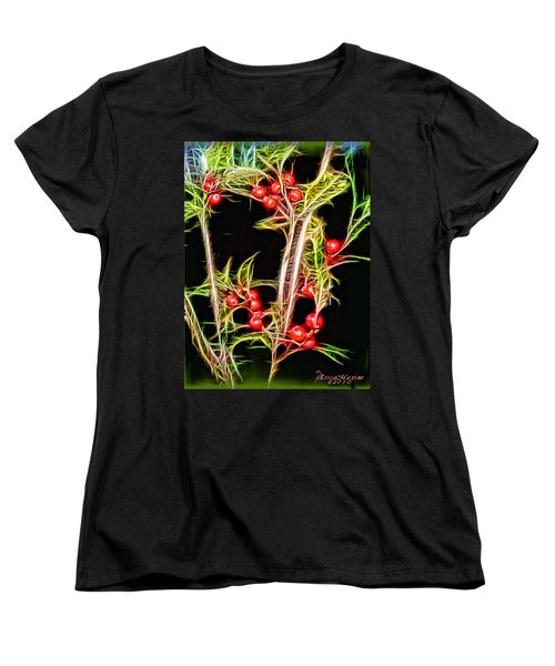 Women's T-Shirt (Standard Cut) featuring the photograph Christmas Berries by EricaMaxine  Price