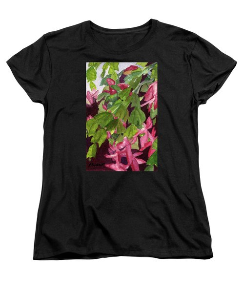 Women's T-Shirt (Standard Cut) featuring the painting Christmas Cactus by Lynne Reichhart