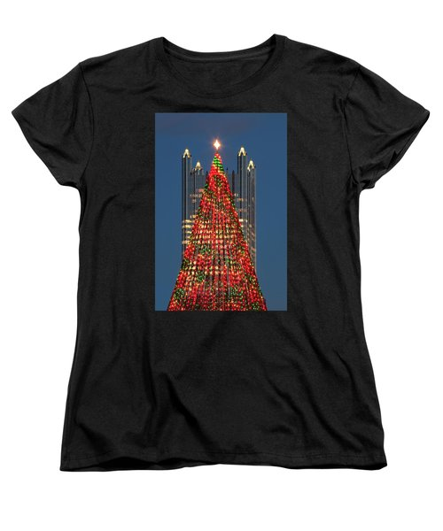 Women's T-Shirt (Standard Cut) featuring the photograph Christmas In Pittsburgh 2016  by Emmanuel Panagiotakis