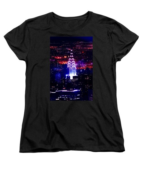 Chrysler Building At Night Women's T-Shirt (Standard Cut) by Az Jackson
