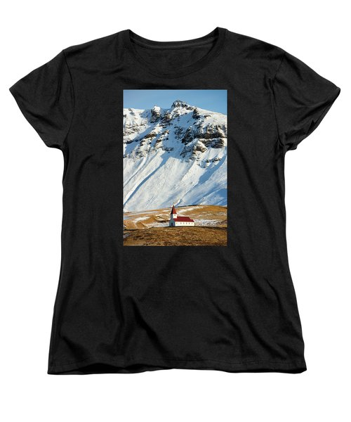 Women's T-Shirt (Standard Cut) featuring the photograph Church And Mountains In Winter Vik Iceland by Matthias Hauser